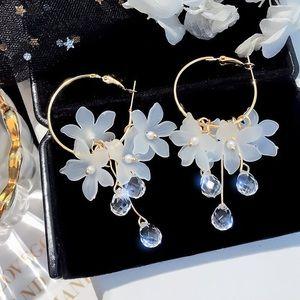 2/$20! Gold Hoops w/Flowers & Crystals Earrings